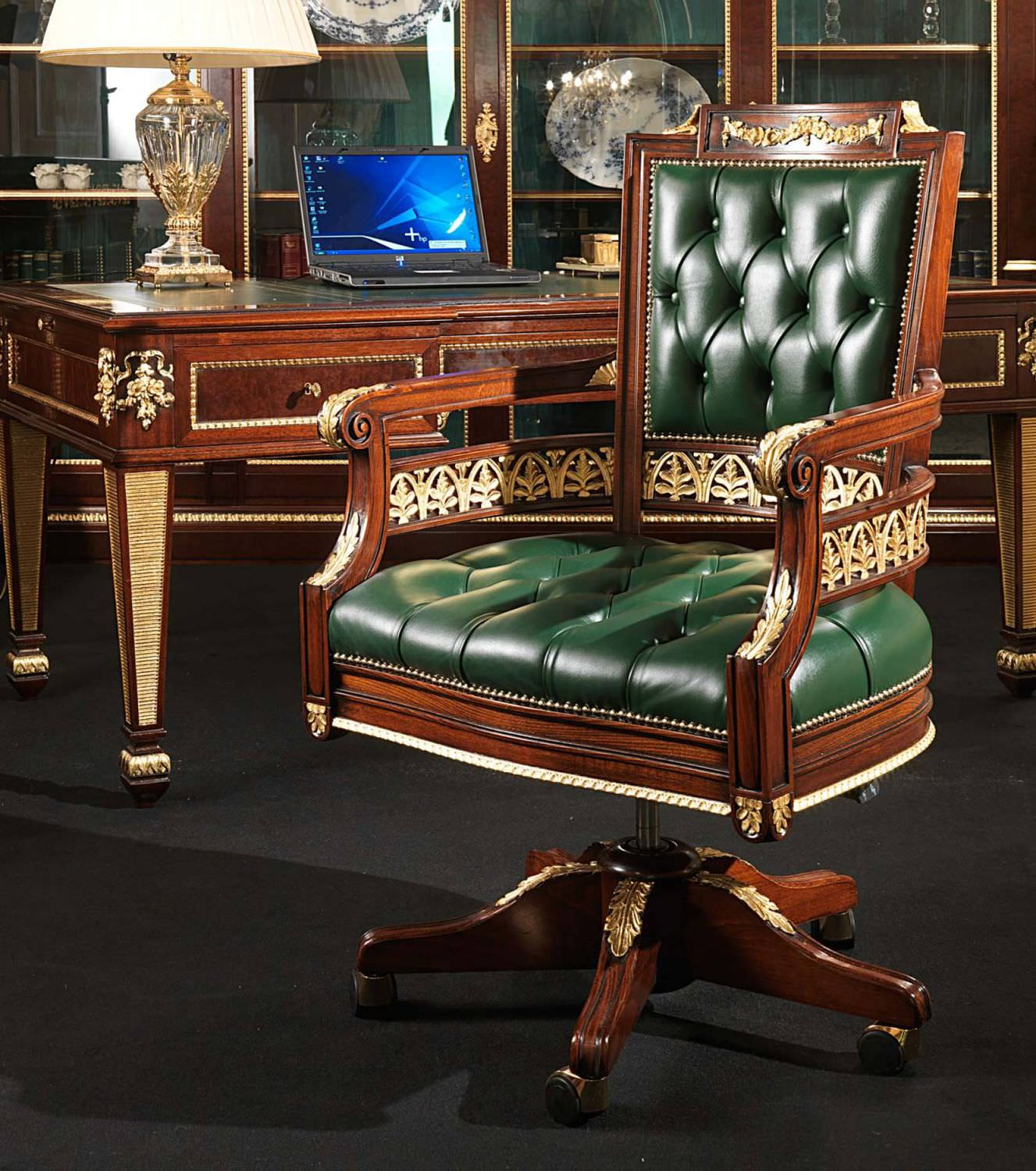 traditional office armchair / wooden / leather / swivel - ERMITAGE & Traditional office armchair / wooden / leather / swivel - ERMITAGE ...