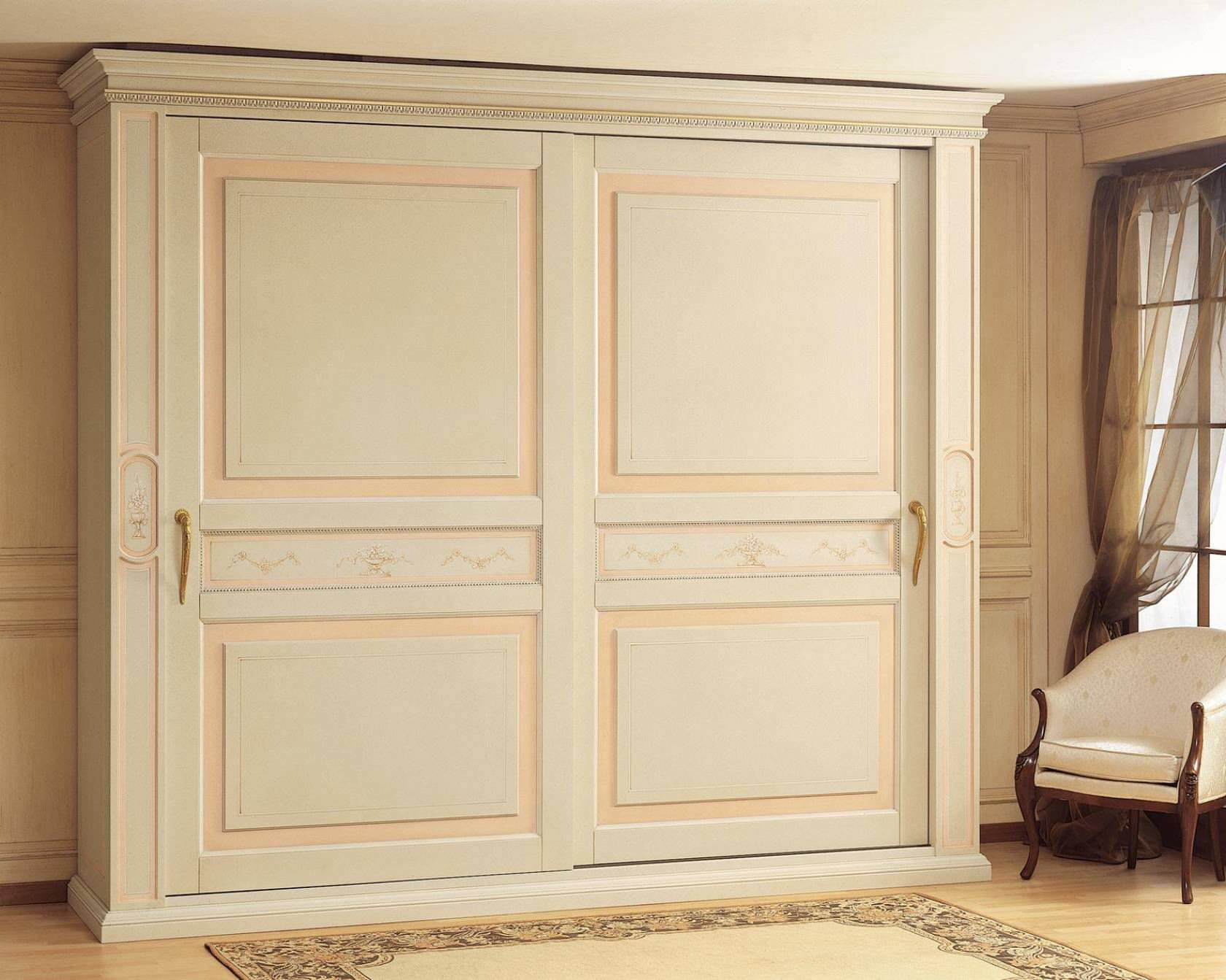 Traditional Wardrobe Wooden Sliding Door Canova Vimercati
