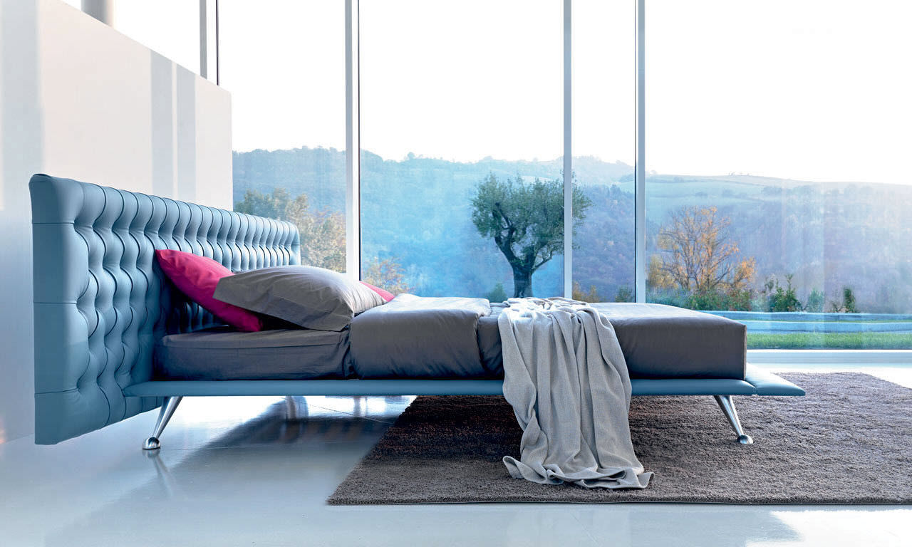 Bed headboard leather -  Double Bed Contemporary Leather With Upholstered Headboard Dizzy Large Noctis