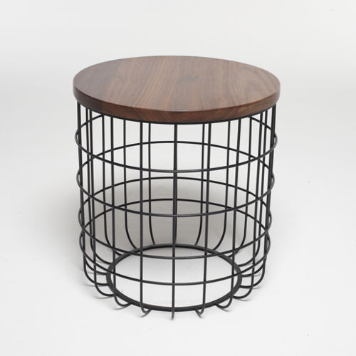 Original design side table / walnut / white oak / steel - WIRE ...