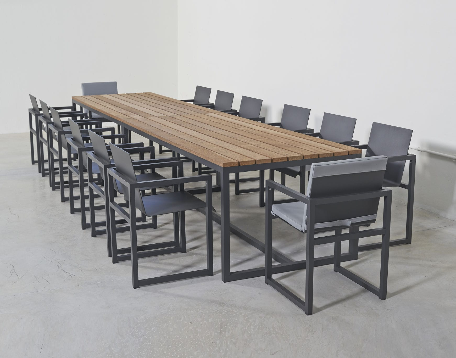 contemporary dining table  ash  aluminum  rectangular  spikes  - contemporary dining table  ash  aluminum  rectangular spikes sachi premium outdoor furniture