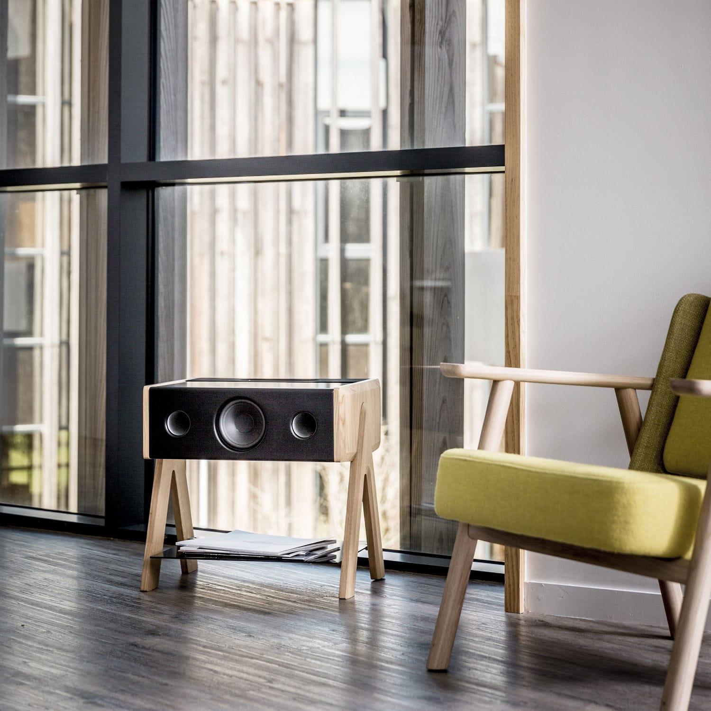 Floor Standing Speaker Wireless Wooden Cube By Samuel