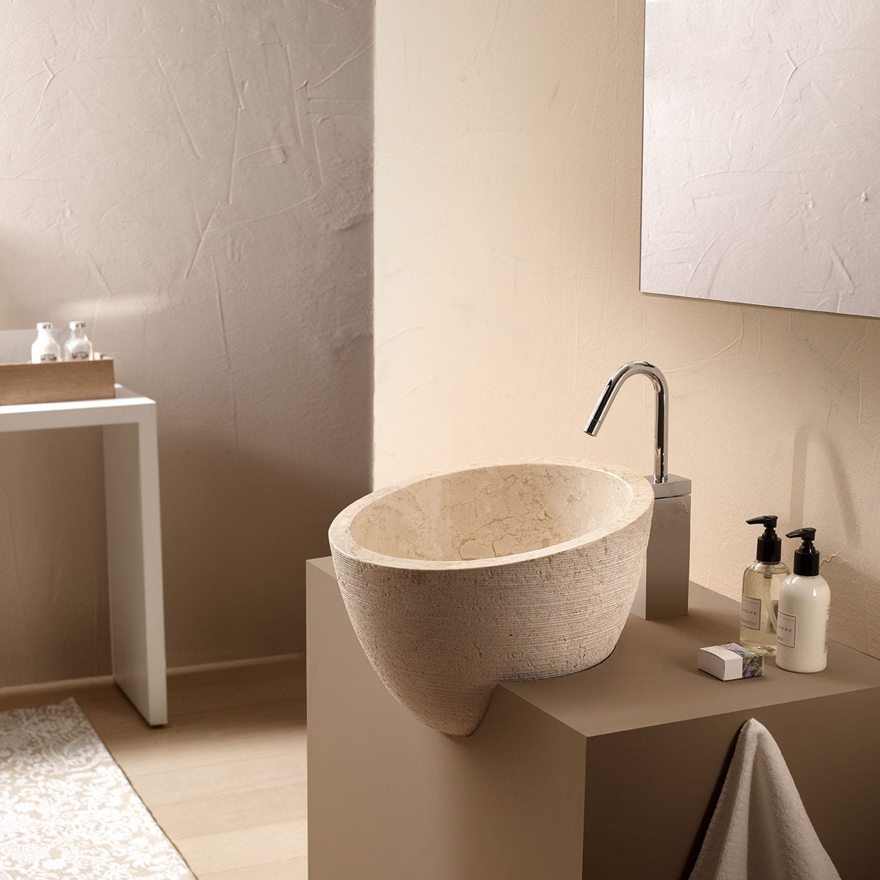 Semi-recessed washbasin / round / stone / contemporary - MIRAGE ...