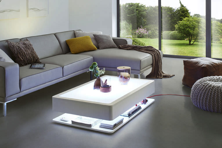 Contemporary Coffee Table Glass Rectangular With Storage