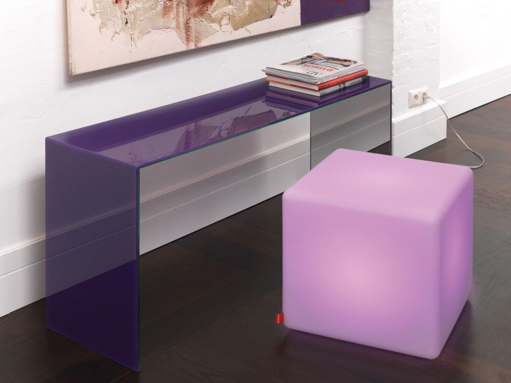 Contemporary Side Table Plastic Cubeshaped Commercial CUBE - Acrylic cube side table