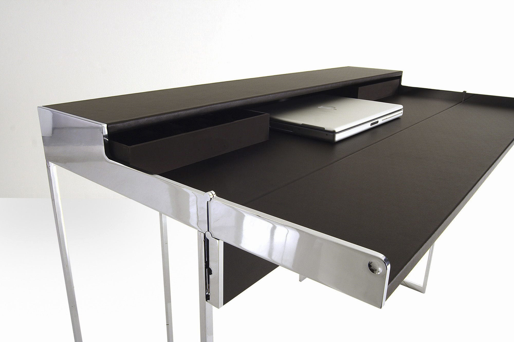 stainless steel desk  leather  contemporary magic by andré schelbachyomei . stainless steel desk  leather  contemporary  magic by andré