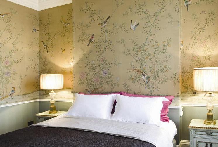 Traditional Wallpaper Silk Chinoiserie Handmade