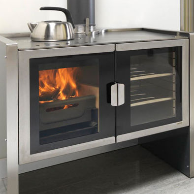 Wood heating stove / contemporary / metal / with cooktop - RAZEN - Wood Heating Stove / Contemporary / Metal / With Cooktop - RAZEN