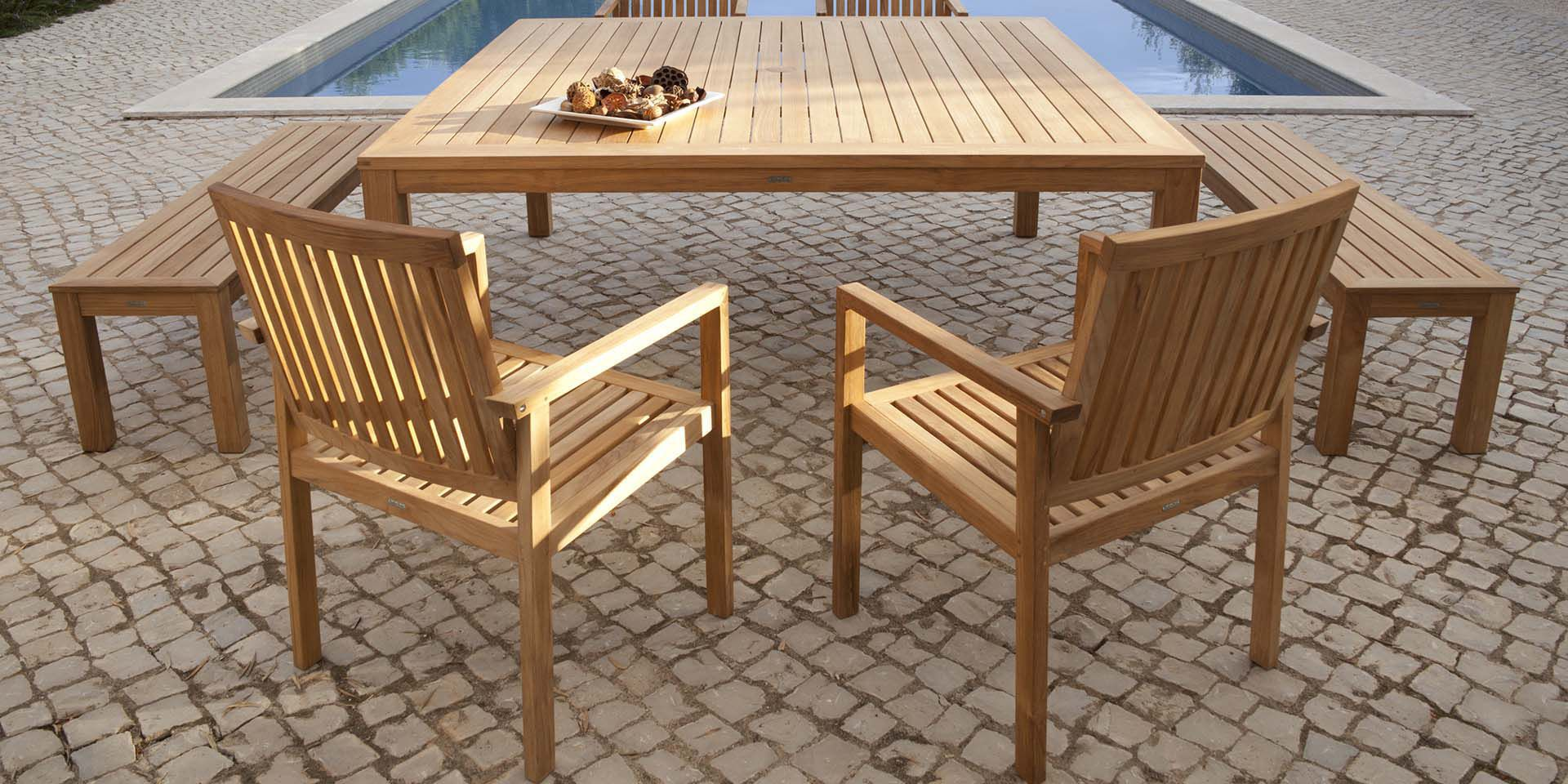 Garden bench / contemporary / teak / residential - LINEAR 150 ...