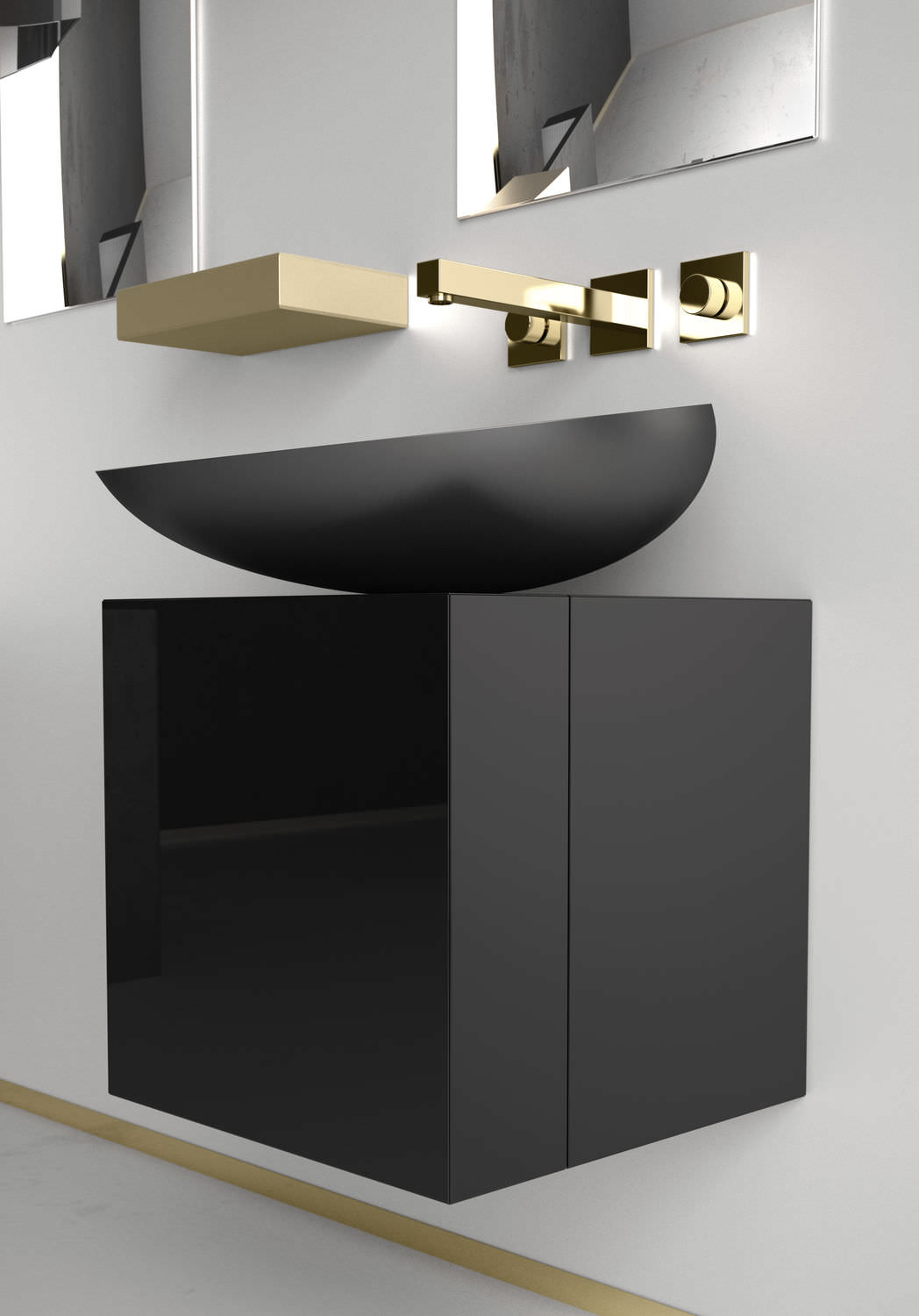 Wall Hung Washbasin Cabinet / Laminate / Contemporary   CUBUS