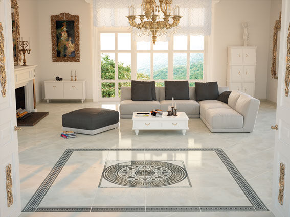 Living room tile / floor / porcelain stoneware / high-gloss ...
