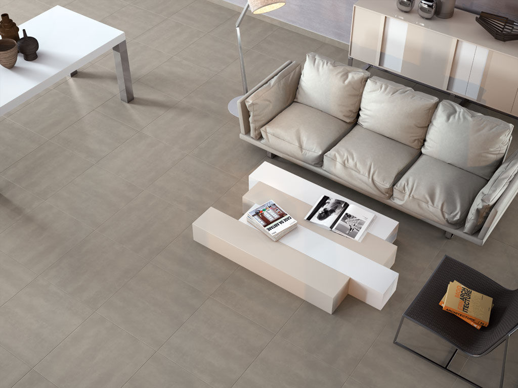 living room tile / floor / porcelain stoneware / matte - concrete