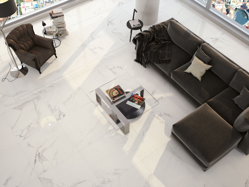 Living room tile / floor / porcelain stoneware / high-gloss - MAGNUM ...