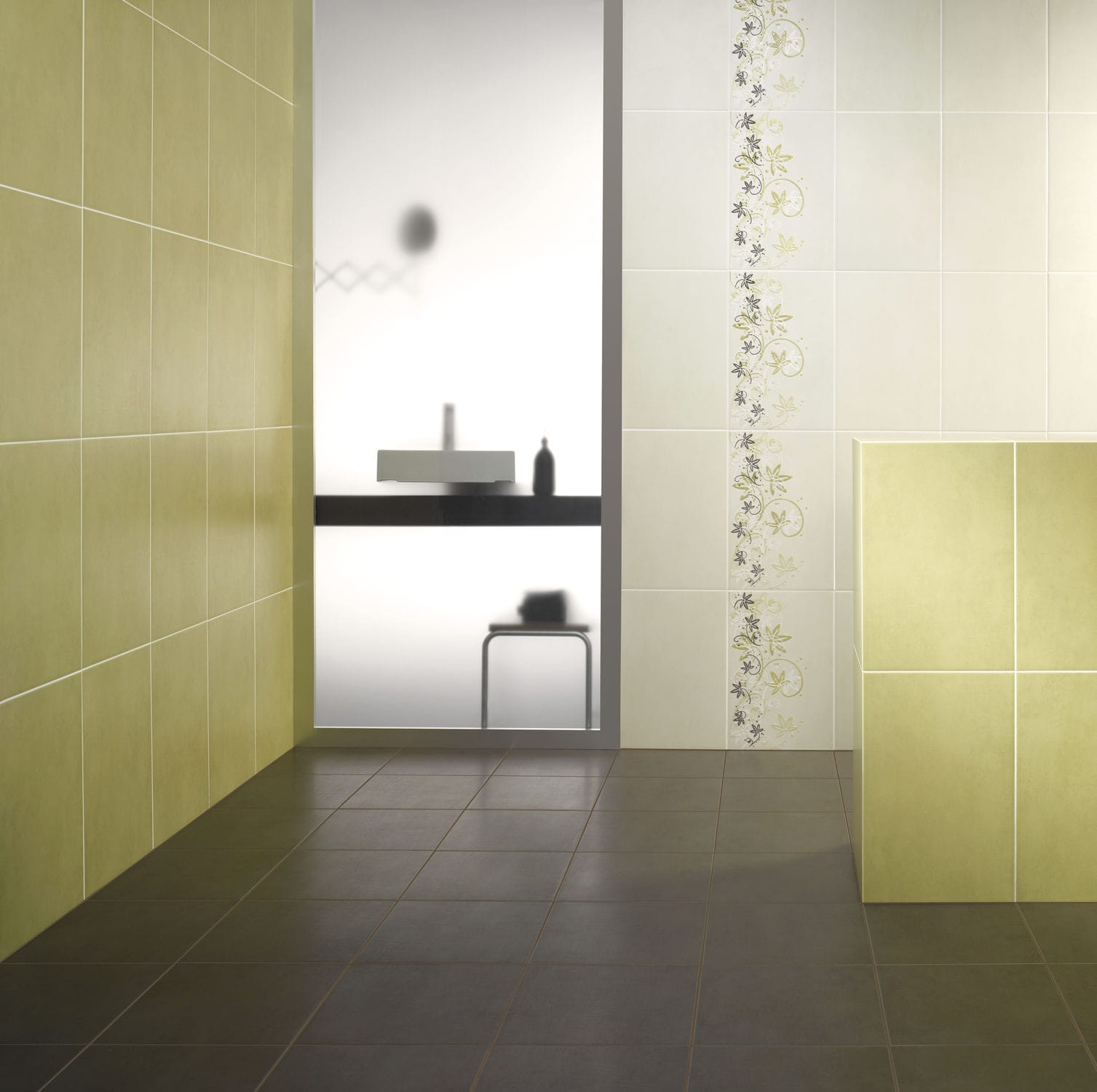 Indoor tile / bathroom / wall / ceramic - CONCRETE - DOMINO