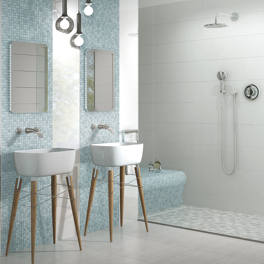 Bathroom Mosaic Tile Wall Floor Porcelain Stoneware Fresh Light Blue Mix