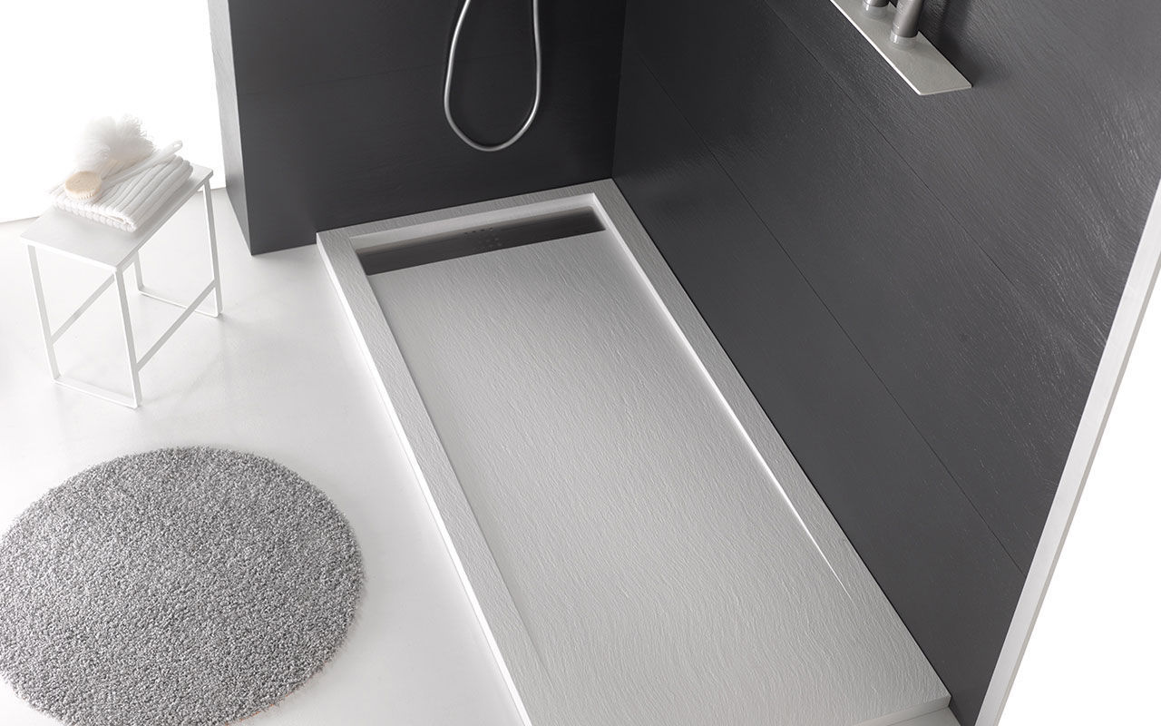... Rectangular Shower Base / Composite / Non Slip / With Channel Drain  TRENDY ARDESIA ACQUABELLA