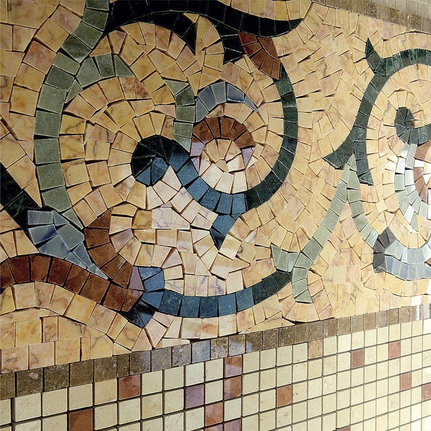 Mosaic Border Tile / Marble / Wall-Mounted / For Floors - Artistic