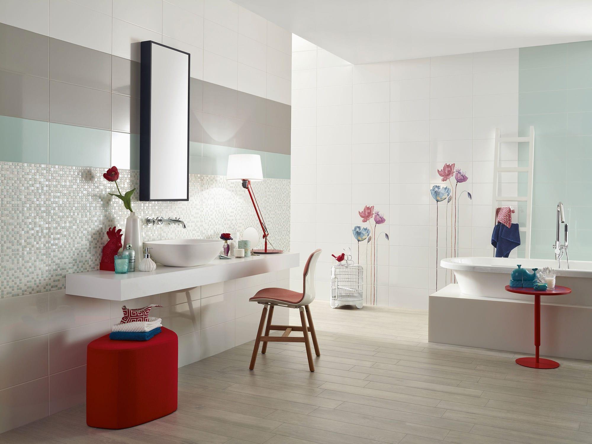 Indoor Tile Floor Ceramic Striped Acqua Love Ceramic Tiles