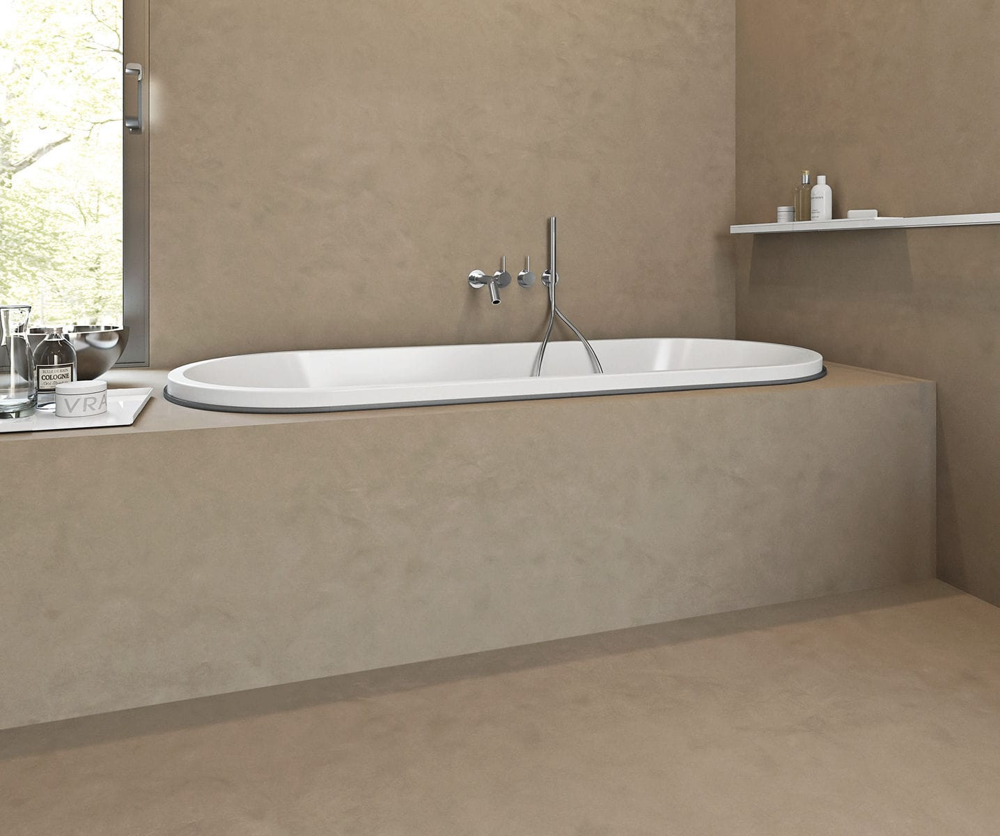 Oval bathtub / Corian® / resin / marble - STREET - MAKRO