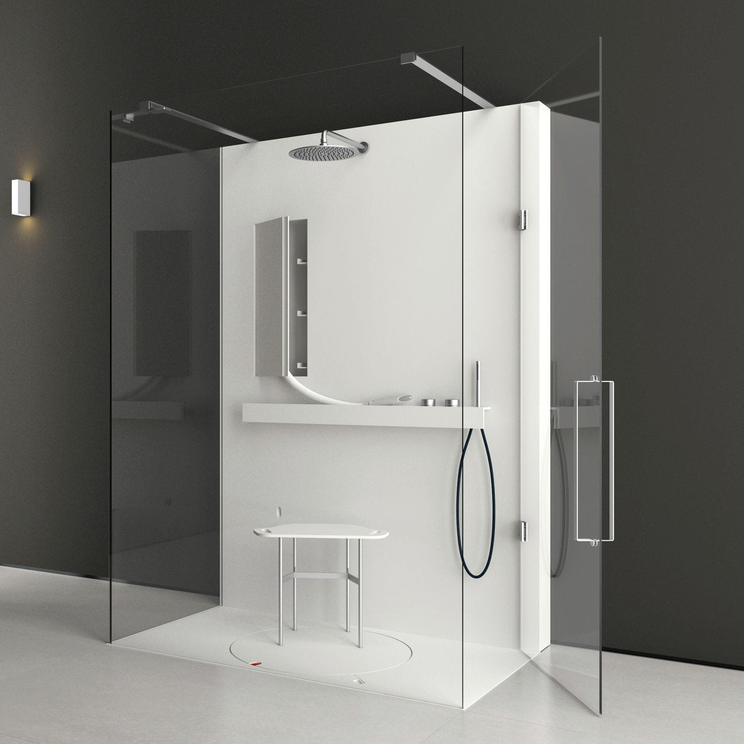 Glass shower cubicle / rectangular / with hinged door - LIFE by ...