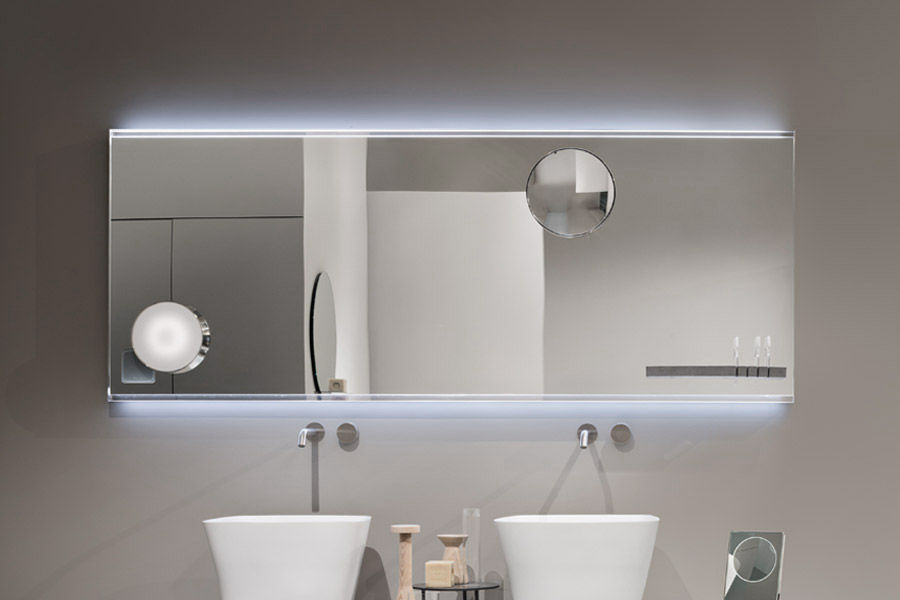 Wall Mounted Bathroom Mirror Led Illuminated Magnifying With Integrated Clock
