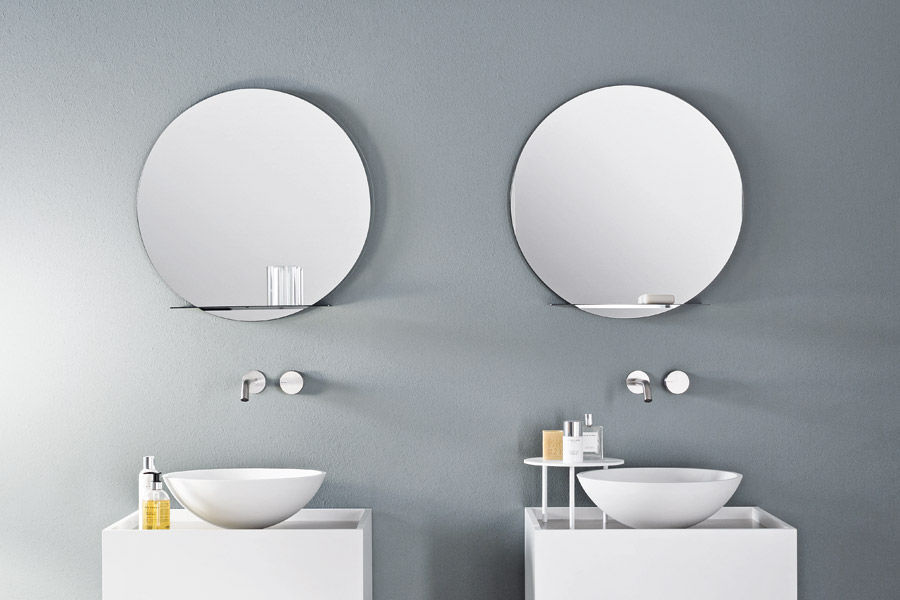 Wall Mounted Bathroom Mirror With Shelf Contemporary Round Tender By Marco Taietta