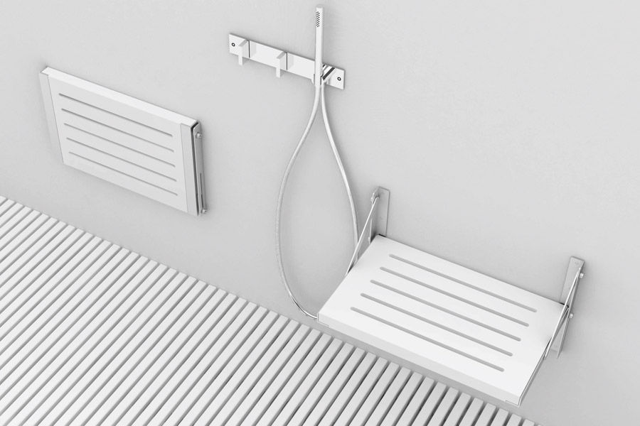 Folding shower seat / stainless steel / wooden / wall-mounted - GT ...