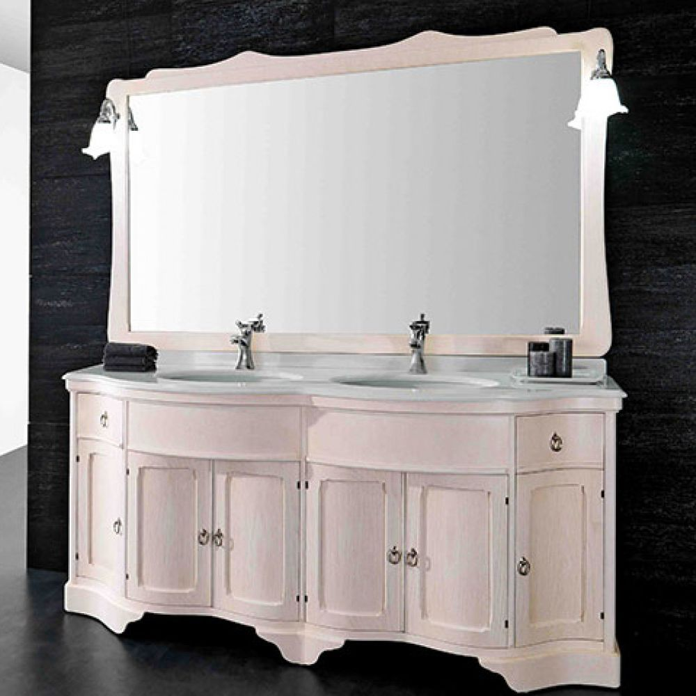 Double washbasin cabinet / free-standing / solid wood / ash - MIREA ...