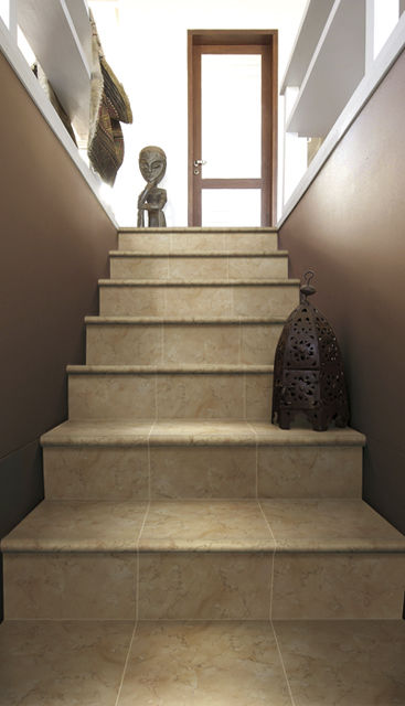 Straight Staircase / Ceramic Steps / With Risers / Contemporary   TOP LUNA