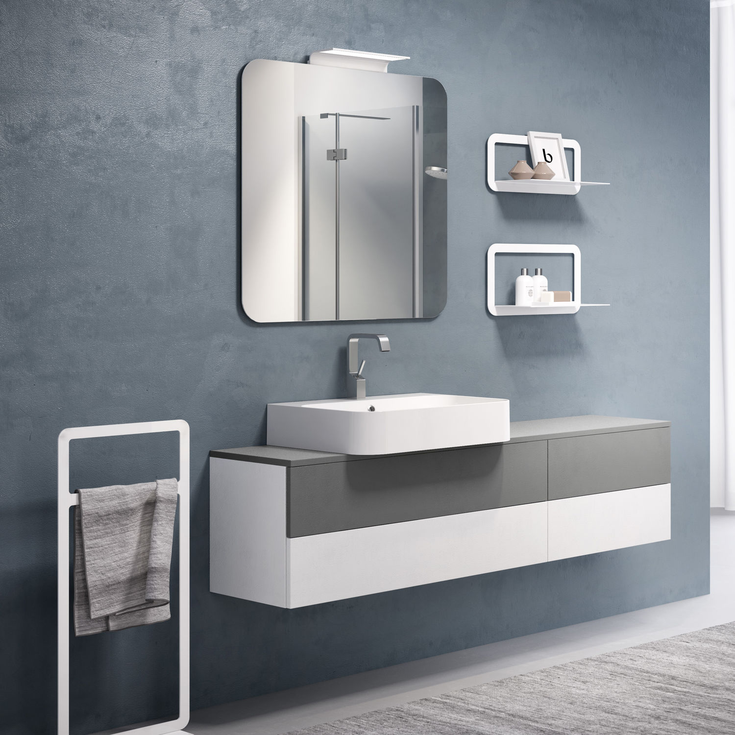Wall-hung washbasin cabinet / ceramic / contemporary / with drawers ...