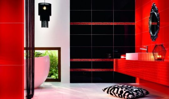 Bathroom Tiles Red indoor tile / bathroom / floor / ceramic - red - tubadzin