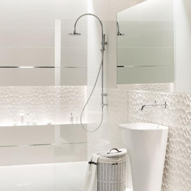 All White Bathroom | Bathroom Tile Wall Porcelain Stoneware Patterned All In