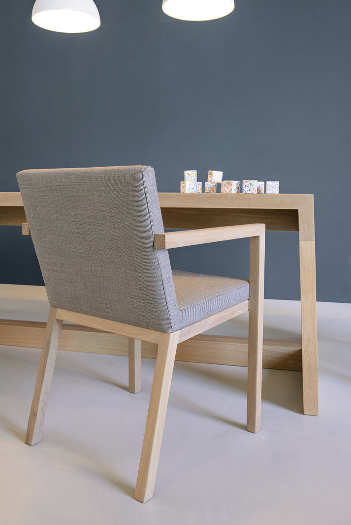 Contemporary dining chair / with armrests / upholstered / fabric ...