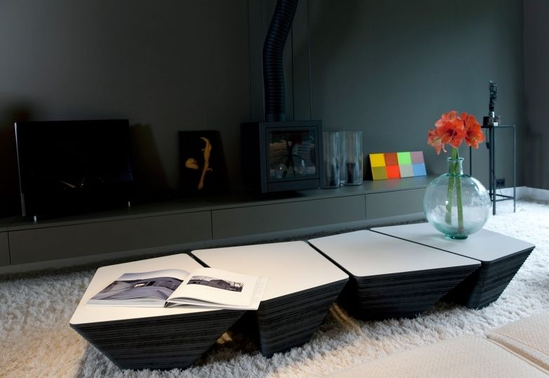 Contemporary Coffee Table Wooden Square Stone By Kees Marcelis