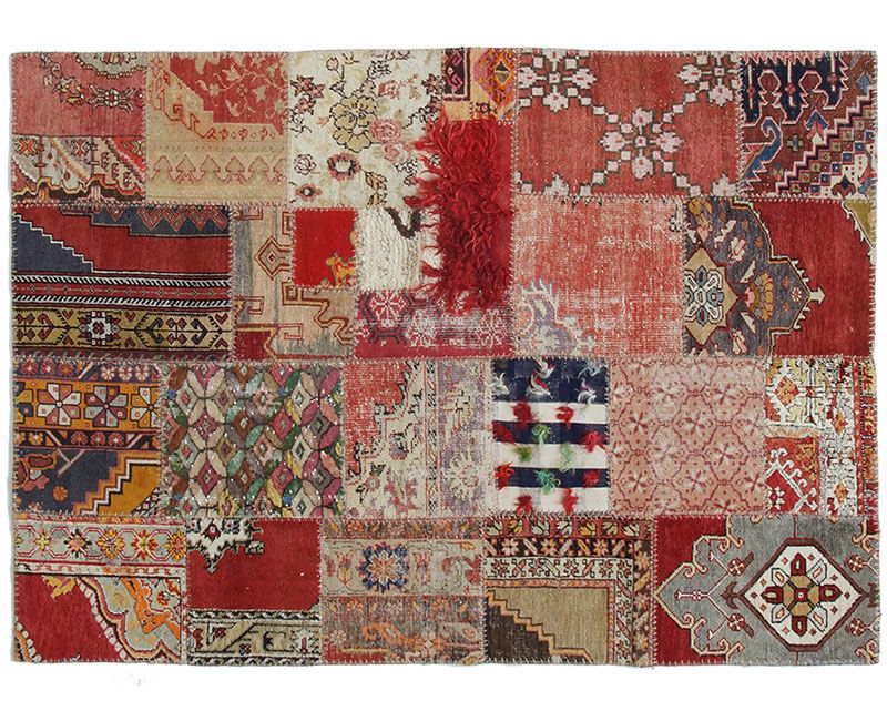 Oriental Rug Patchwork Wool Rectangular 1037