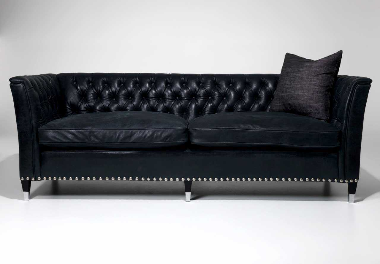 Traditional Sofa Leather 3 Seater Black Florence
