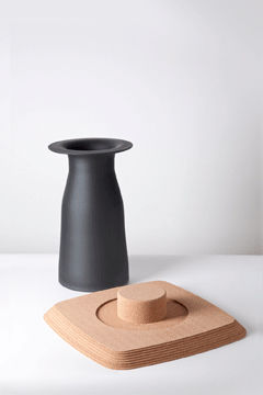 Original Design Side Table / Glass / Cork / Square PLUG By Tomas Kral PCM  DESIGN Part 35