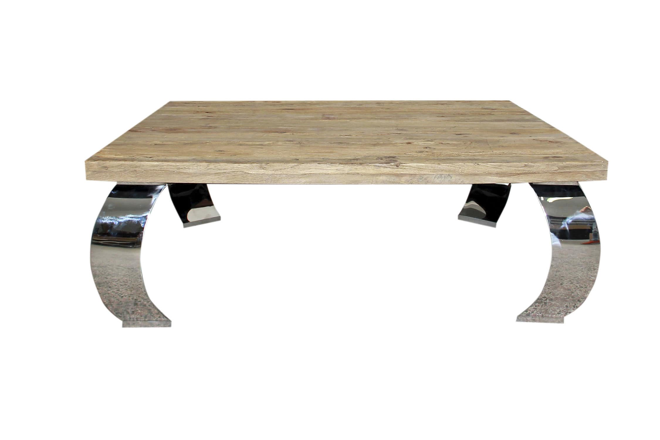 Contemporary coffee table elm stainless steel rectangular