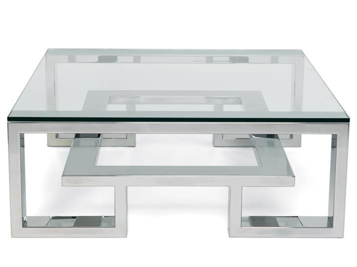coffee table glass stainless steel square brooklyn villiers