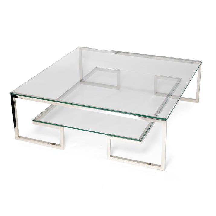 Contemporary Coffee Table Glass Stainless Steel Square Harlem