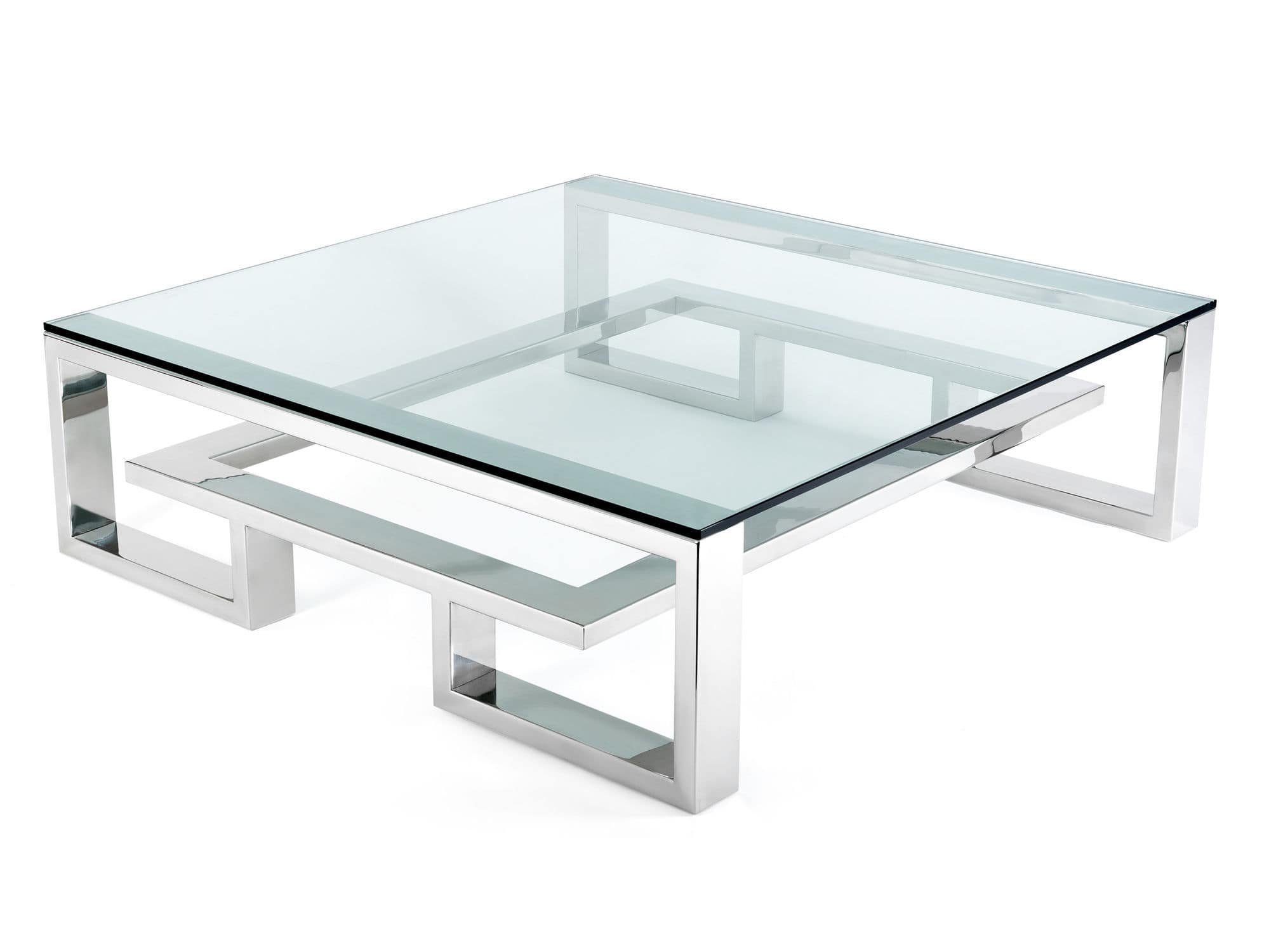 Contemporary coffee table glass stainless steel square