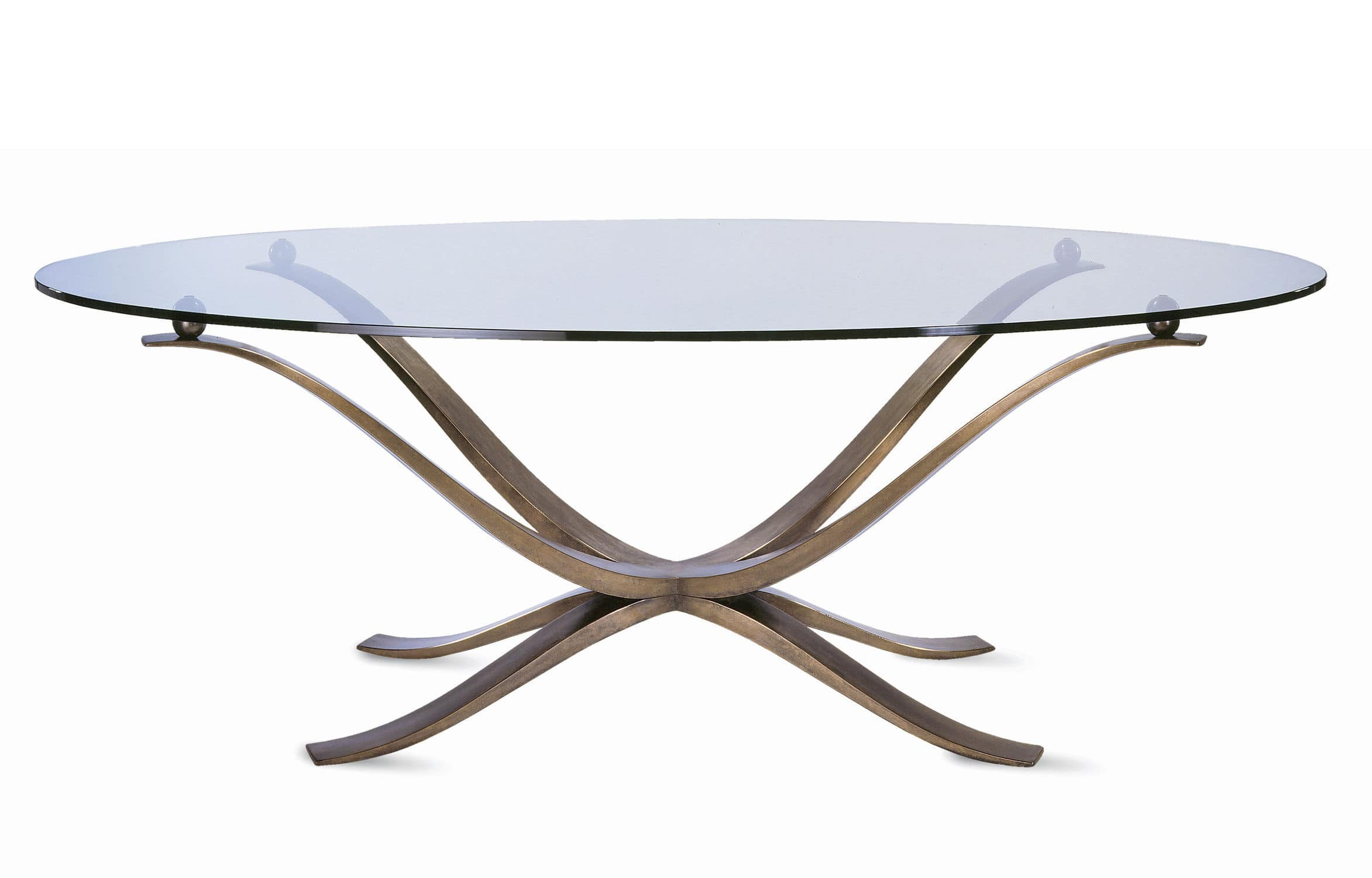 Traditional dining table glass bronze oval CASPIAN VILLIERS