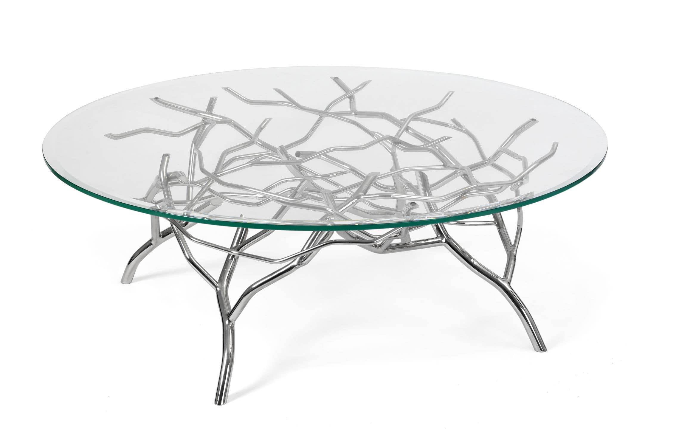 Contemporary coffee table glass stainless steel round