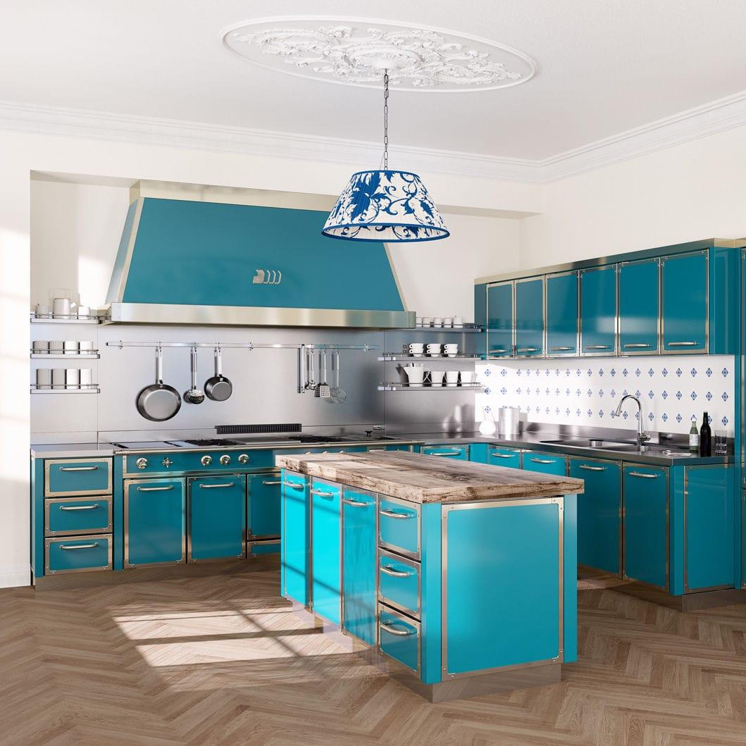 Contemporary kitchen / metal / island / L-shaped - DeManincor