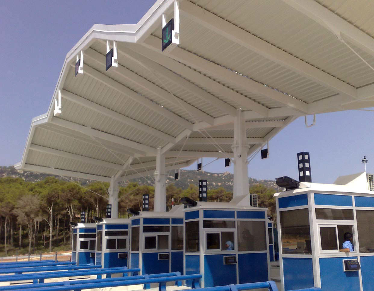 Metal frame supported tensile structure / canopy / roof / with PVC membrane - AUTOROUTE SMIR & Metal frame supported tensile structure / canopy / roof / with PVC ...