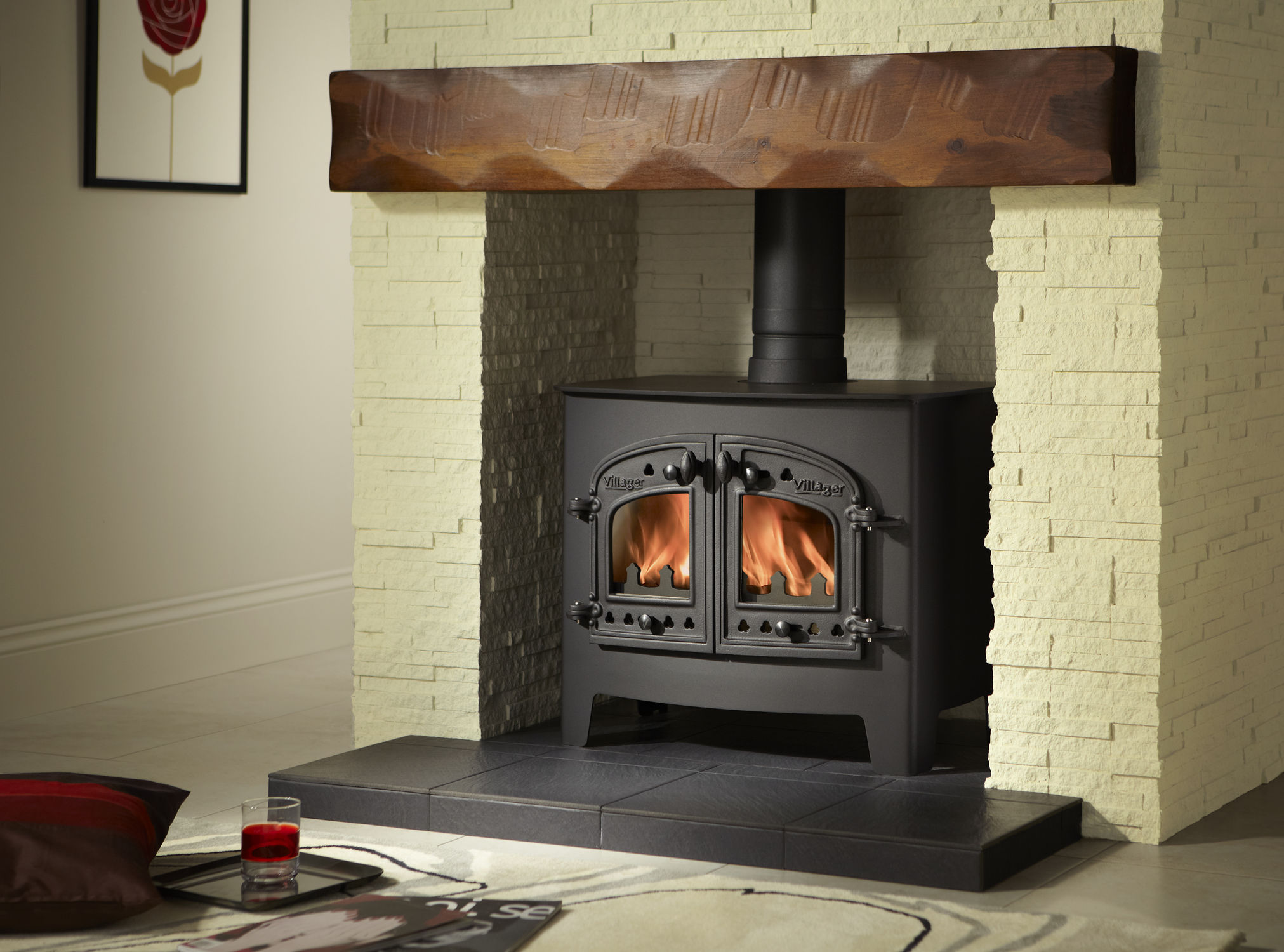 wood heating stove traditional metal a flat wood arada