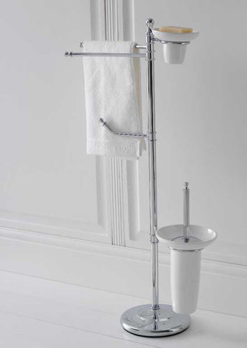 2bar Towel Rack  Floorstanding Brass With Soap Dish  CLASSIC