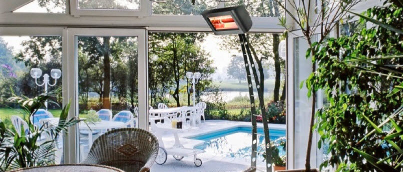 ... Floor Mounted Infrared Patio Heater / Electric / Portable