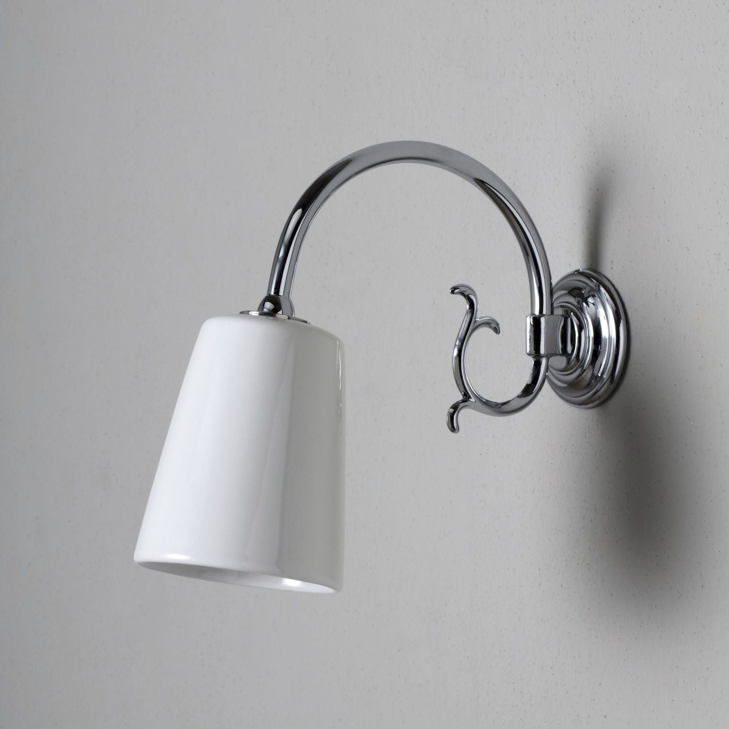 traditional wall light fabric chromed metal incandescent