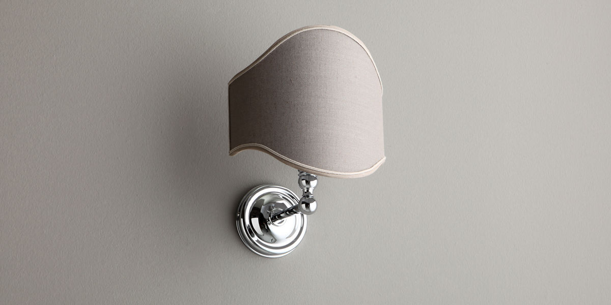 traditional wall light fabric chromed metal incandescent 2
